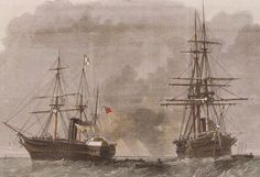 Seizure at Sea: The Trent Affair: USS San Jacinto stops RMS Trent.
