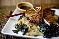 Pan Fried Tofu, Kale, and Stir-Fried Noodles Recipe