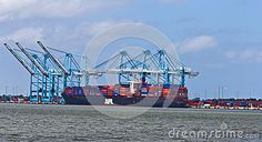 US Navy Yard at Virginia Beach June 2012. APL boat being loaded with cargo.