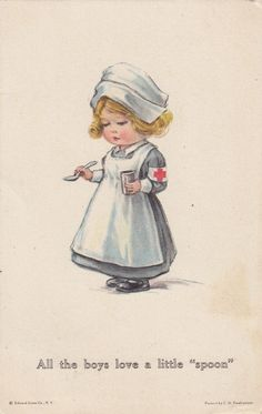 "An illustration of a girl dressed as a Red Cross nurse portrayed as romantic love interest for soldiers to ""spoon"" or kiss and cuddle, ca. Pictures of Nursing: The Zwerdling Postcard Collection. National Library of Medicine Retro Kids, Images Vintage, Vintage Pictures, Funny Pictures, Vintage Greeting Cards, Vintage Postcards, Nurse Pics, Nurse Art, Cute Nurse"