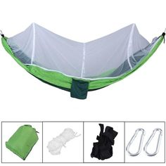 New Outdoor Hanging Hammock Portable High Strength Fabric Hammock Hanging Bed With Mosquito Net Sleeping Bed 260x130cm Factories And Mines Furniture Outdoor Furniture