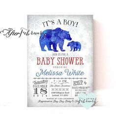 Winter Baby Shower Invitation Arctic Baby Shower by AfterFebruary