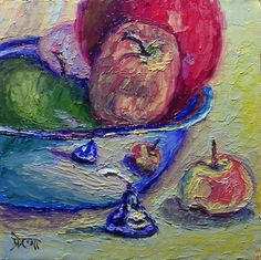 """30 Paintings in 30 days: Day 27: """"Apple Medley with a Kiss"""", 6 x 6 inches, Oil on Canvas Panel Available here: https://www.etsy.com/shop/preranap Happy New Year Everyone!"""