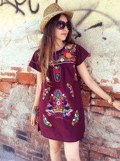 Shift dress and blue bracelets Mexican Fashion, Mexican Outfit, Mexican Dresses, Mexican Clothing, Mexican Embroidered Dress, Embroidered Clothes, Mexican Embroidery, Boho Fashion, Girl Fashion