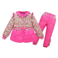 Winter Kids Girl Clothes Set - LSERVER Warm Girls Floral Print Down Jacket with Bowknot+Pants 2 Piece Snowsuit. ❤HIGH QUALITY:Micro waterproof fabric and white duck down filled makes your kids warm in winter. ❤FASHION DESIGN:2017 Winter kids boys down jacket +pants 2 piece set has bow tie,girls' have bowknot,ruffle edge collar and floral print. ❤SIZE:3 sizes,120=4-5T,130=6T,140=7-8T,please see our detailed size chart picture at the left image to choose size. ❤CLOTHES CARE:Hand wash...