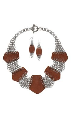 Jewelry Design - Collar-Style Necklace and Earring Set with Leather Scraps and Chainmaille - Fire Mountain Gems and Beads