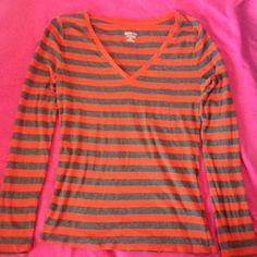 Striped Shirt Orange and gray striped long sleeve shirt Merona Tops Tees - Long Sleeve