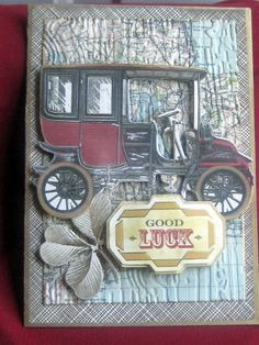 Good Luck - using Anna Griffin supplies, embossing folder, some distressing and krylon pen for outlining  - nice.  by Elaine S/ChaosMom