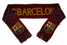 "FC Barcelona Soccer Team Scarf by Rhinox. $19.99. Official Barcelona Merchandise. 7.5"" x 58"" (scarf not including fringe). A must have for Barcelona fans.. FC Barcelona team name and club badge featured.. 100% Woven Acrylic.. Official FC Barcelona merchandise.  The team scarf is perfect for any supporter.  Great to display on a wall or in a window!. Save 33% Off!"