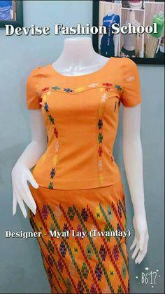 Designer Anarkali Dresses, Designer Dresses, Traditional Dresses Designs, Myanmar Dress Design, Myanmar Traditional Dress, Indian Skirt, Formal Tops, Corset Pattern, Batik Dress