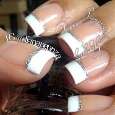 New Nails French Manicure Classy Bling 57 Ideas Prom Nails, Wedding Nails, Wedding Makeup, Gorgeous Nails, Pretty Nails, How To Do Nails, Fun Nails, Sparkle Nails, Bling Nails