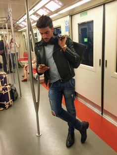 Casual outfit - leather jacket - Mensfashion #dubai Mariano Di vaio