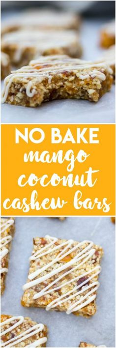 Ready to snack? These easy healthy Mango Coconut Cashew Bars are no bake and ready in no time. Plus the white chocolate drizzle makes this recipe extra fancy! Paleo Dessert, Healthy Dessert Recipes, Dessert Bars, Healthy Desserts, Clean Eating Recipes, Real Food Recipes, Baking Recipes, Snack Recipes, Vegetarian Desserts