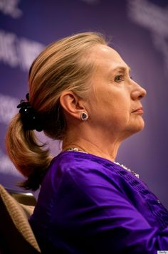 hillary clinton scrunchie Why would this woman wear her hair like this..WHY!