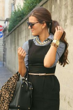 Black sheath, chambray, statement necklace. I love the necklace and how she used the Chambray top to cover up/layer and it makes the outfit look so chic.