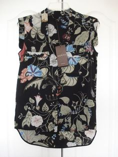 Gucci Flora by Kris Knight Sleeveless Silk Shirt NWT Size 40 #Gucci #Blouse #Casual