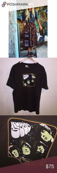 VINTAGE Beatles Rubber Soul Band Tee Vintage Beatles Rubber Soul T-Shirt. Screen print graphic has cracking. Unisex size L.       🚫 modeling. Cover photo is a similar Beatles shirt to show you a cute way to style this vintage gem. Vintage Tops Tees - Short Sleeve