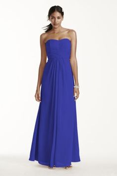 A look and feel that your bridesmaids will love, this long and flowy chiffon dress will set your bridal party apart from the rest!  Strapless a-line silhouette features ultra-feminine pleated bodice.  Long and soft flowing chiffon fabric gives this dress a whimsical feel.  Also available in extra length sizes.  Fully lined. Imported. Back zip. Dry clean only.