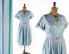 Vintage 50's Cotton Striped Shirtwaist Dress // by SwellFarewell