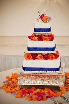 orange and blue wedding cakes   Blue & orange wedding cake - by ...