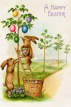 Easter Art, Easter Bunny, Holiday Postcards, Holiday Cards, Egg Tree, Coloring Easter Eggs, Easter Colors, Invitation Paper, Vintage Easter