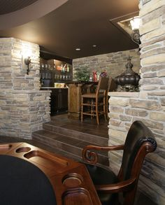Secluded lower level wet bar and gaming table nearby | Plan 071S-0002 | House Plans and More