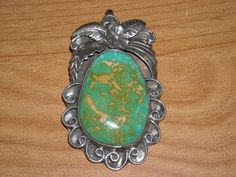 Vintage Native American Large Turquoise Pendant for Necklace Yellow Gold Matrix Sterling Silver Jewelry via Fluffy St. Emporium. Click on the image to see more!
