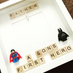 Father, a sons first hero scrabble photo frame