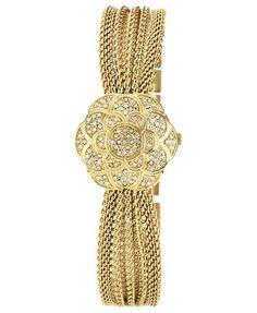 Anne Klein Watch, Women's Flower Case Cover Gold-Tone Stainless Steel Mesh Layer Bracelet 23mm AK-1046CHCV