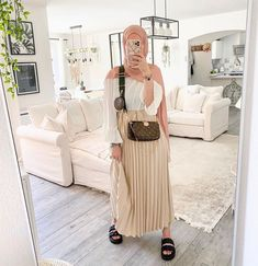 Casual And Pleated Hijab Skirt Outfits To Copy - Image Credit:@luceii.nour - Looking for Inspiration On How To Wear Skirt Outfits With Modest Fashion, Then Keep Reading For Inspo On Ootd Hijab Skirt Midi, Street Hijab Fashion, Skirt Outfits For Winter, Casual Outfits With Skirts, Skirt Outfit Classy And Much More. #hijab #hijabfashion #summeroutfits #hijaboutfit #skirt Le Code, Change, Boutique, Instagram, Dresses, Fashion, Shopping, Skirt, Vestidos
