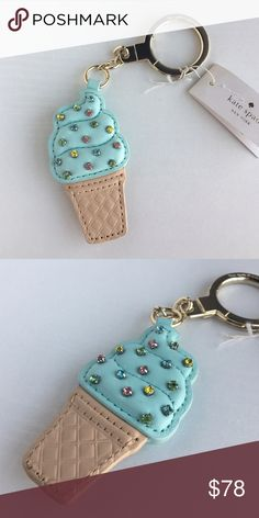 """Kate Spade Ice Cream Popsicle Key Keychain Charm Brand new with tags! Would you like sprinkles on top? Then look no further than this adorable ice cream cone keychain with pastel-colored crystal sprinkles on top!   Details: • Crystal-embellished leather ice-cream cone key fob • Golden tone key ring  Product Dimensions: 3.3""""H x 1.8""""W x 0.2""""D kate spade Accessories Key & Card Holders"""