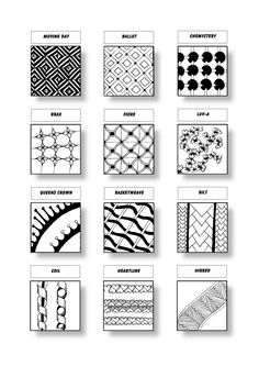 Zentangle Pattern Sheet 12 Patterns: Moving Day, Ballot, Chemystery, Brax, Fiore, Luv-A, Queen´s Crown, Basketweave, Bilt, Coil, Heartline, Hibred