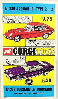 "Vintage Corgi Toys Retailer's window Banner advertising ""New"" 335 Jaguar E Type…"
