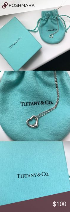 Tiffany&Co Open Heart Necklace Great condition, worn twice. No tarnish. Comes with Tiffany pouch and box. Tiffany & Co. Jewelry Necklaces