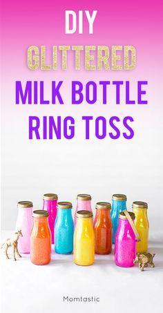 DIY glittered milk bottle ring toss for the backyard