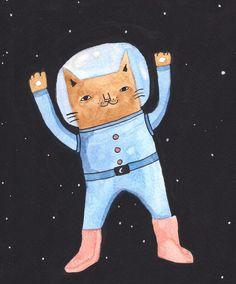 Paula Sosa Holt, cats, cat, astronauta, dibujo, illustration, galaxy, drawing