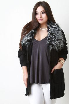 Zip-Up Faux Fur Collar Chunky Cardigan