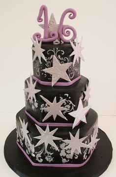 Sweet Sixteen Cake New Jersey - Elegant Stars Custom Cakes. Could do in white instead of black for Christmas party.