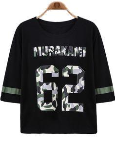 Black Half Sleeve 62 Print Loose T-Shirt - Sheinside.com
