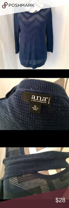 Casual ANA navy blue sweater top A very lightweight navy blue sweater/top by ANA 🌸 perfect casual wear with jeans and a cami 💕 ❌ trades! ❌.                                       ‼️ Please submit offers with offer button ‼️ a.n.a Tops Blouses