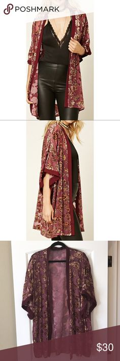 NWOT Floral Kimono This kimono is so gorgeous and high quality! Sheer burgundy w velvet floral print. Open front, short dropped sleeves and chiffon trim. From the Contemporary Line at F21. Forever 21 Tops Tunics