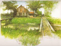 """""""Het boerderijtje van Oom Dirk"""" aan de Boezem bij de Vroonweg, in 1944. De afgebeelde trambrug is nog steeds aanwezig, maar van het voetgangersbruggetje zijn alleen de aanzetten nog zichtbaar. Rien Poortvliet"""