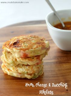 Ham, Cheese and Zucchini Pikelets