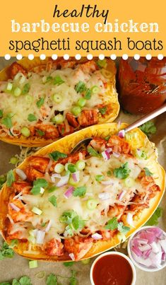 These healthy barbecue chicken spaghetti squash boats are easy to make and fun for the entire family! With homemade barbecue sauce and wholesome ingredients, they will leave everyone feeling satisfied. Naturally gluten free! #healthydinnerrecipe #spaghettisquash #bbqchicken #healthybarbecue #spaghettisquashrecipes #chickendinner
