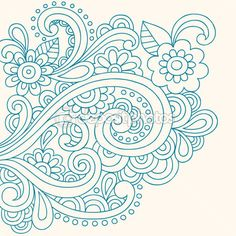 Hand-Drawn Henna Paisley and Flowers Abstract Doodle — Stock Illustration #16205967