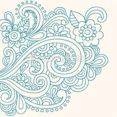 手描きヘナ ペイズリーと花抽象的な落書きベクトル イラスト — ストックイラストレーション #16205967