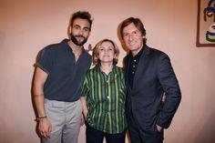 Marco Mengoni, Silvia Venturini Fendi and Pietro Beccari at the Fendi Men's Spring/Summer 2017 fashion show.