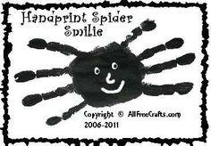 Hand-print spider. I'd tweak this idea some, but it's a cute idea