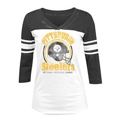 9326aa9e Get this Pittsburgh Steelers Ladies Logo 3/4 Sleeve Burnout T-Shirt at  ThePittsburghFan