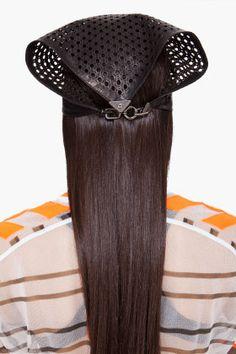 ALEXANDER WANG Black Perforated Leather bandanna